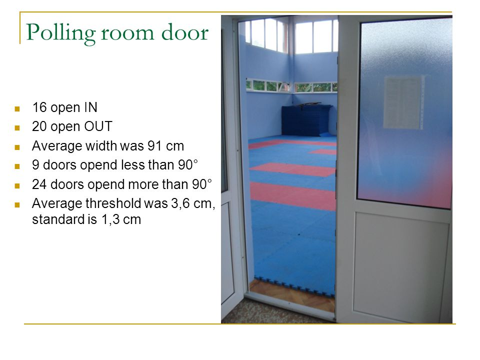 Polling room door 16 open IN 20 open OUT Average width was 91 cm 9 doors opend less than 90° 24 doors opend more than 90° Average threshold was 3,6 cm, standard is 1,3 cm