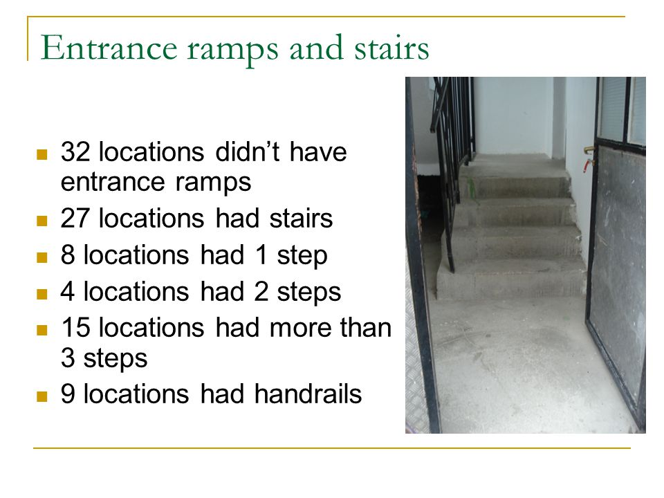 Entrance ramps and stairs 32 locations didnt have entrance ramps 27 locations had stairs 8 locations had 1 step 4 locations had 2 steps 15 locations had more than 3 steps 9 locations had handrails
