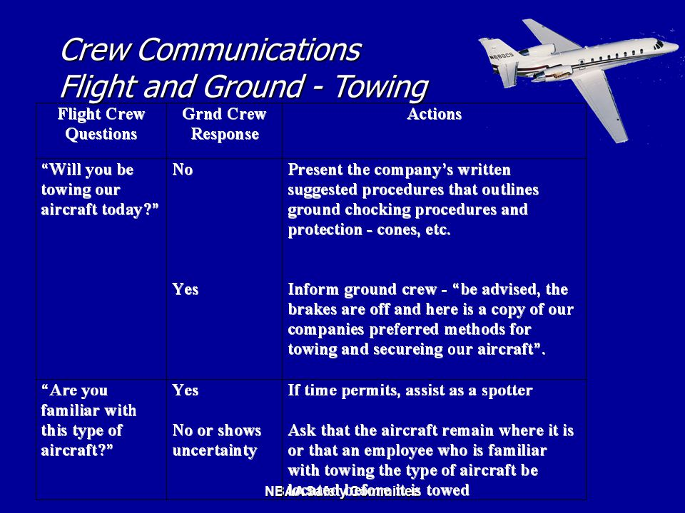 NBAA Safety Committee Crew Communications Flight and Ground - Towing