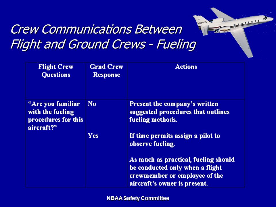 NBAA Safety Committee Crew Communications Between Flight and Ground Crews - Fueling