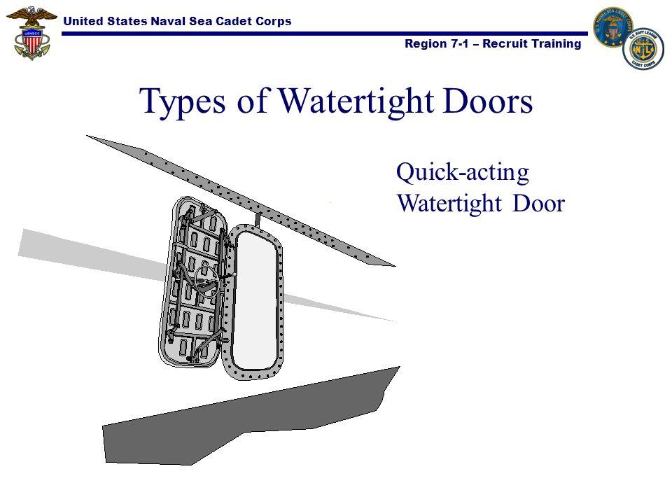 United States Naval Sea Cadet Corps Region 7-1 – Recruit Training Types of Watertight Doors Quick-acting Watertight Door