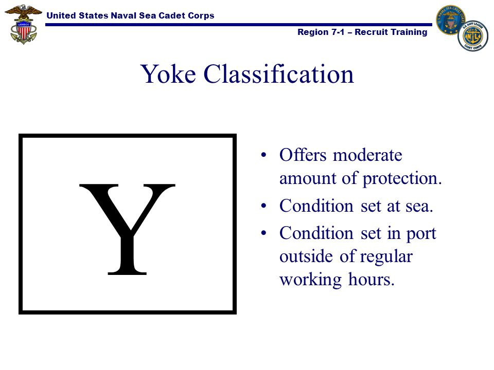 United States Naval Sea Cadet Corps Region 7-1 – Recruit Training Yoke Classification Y Offers moderate amount of protection. Condition set at sea. Co