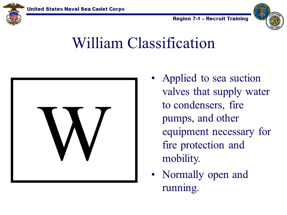 United States Naval Sea Cadet Corps Region 7-1 – Recruit Training William Classification W Applied to sea suction valves that supply water to condense