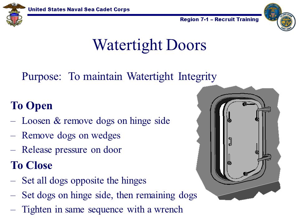 United States Naval Sea Cadet Corps Region 7-1 – Recruit Training Watertight Doors Purpose: To maintain Watertight Integrity To Open –Loosen & remove