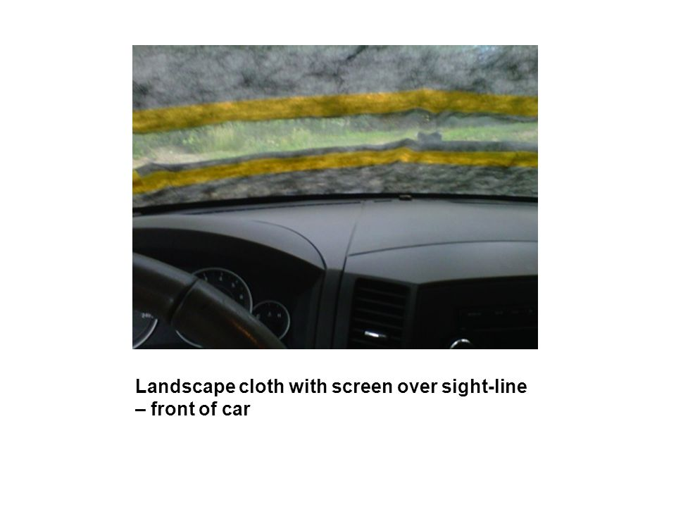 Landscape cloth with screen over sight-line – front of car