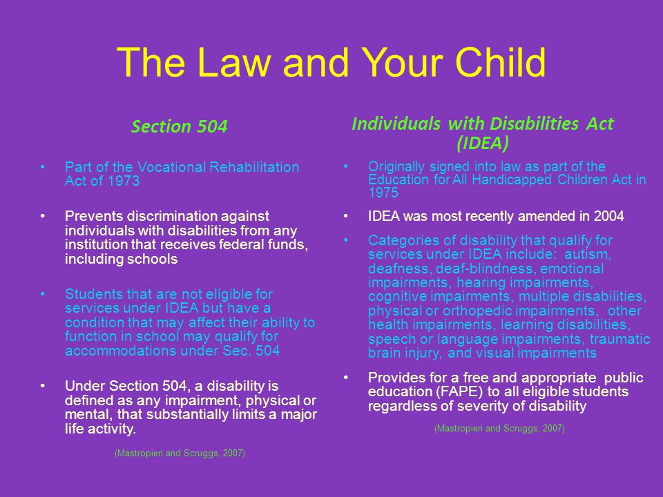 The Law and Your Child Section 504 Part of the Vocational Rehabilitation Act of 1973 Prevents discrimination against individuals with disabilities from any institution that receives federal funds, including schools Students that are not eligible for services under IDEA but have a condition that may affect their ability to function in school may qualify for accommodations under Sec.
