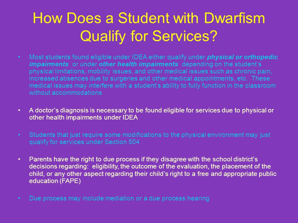 How Does a Student with Dwarfism Qualify for Services.