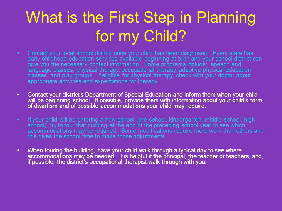 What is the First Step in Planning for my Child.