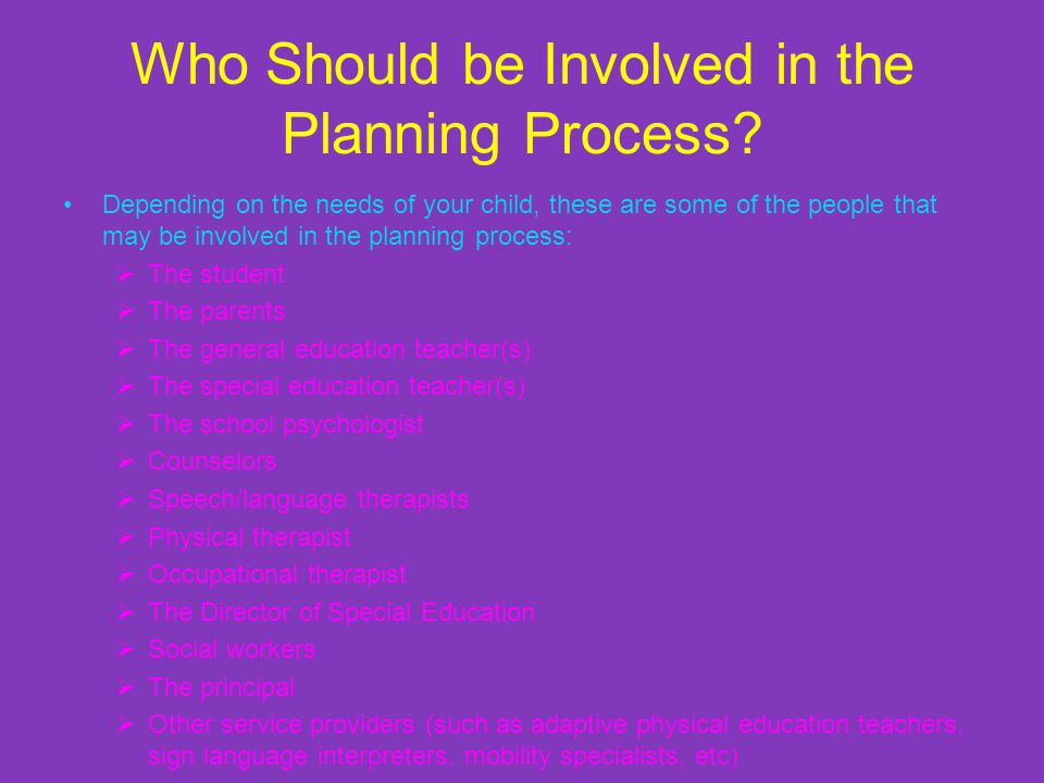 Who Should be Involved in the Planning Process.