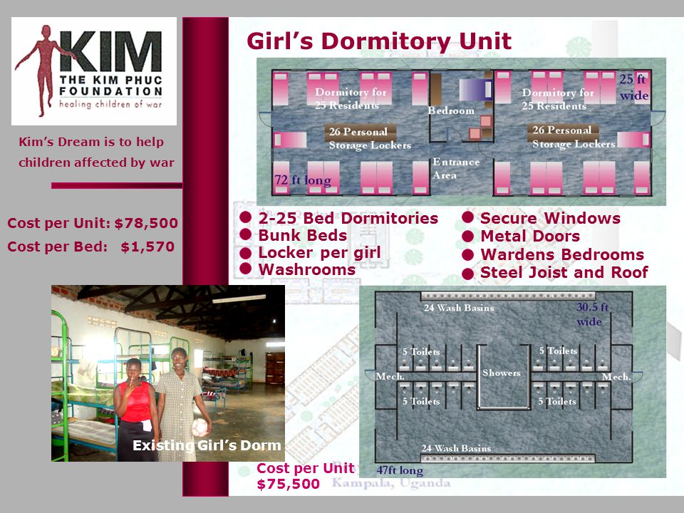Kims Dream is to help children affected by war Girls Dormitory Unit Washrooms 2-25 Bed Dormitories Locker per girl Bunk Beds Secure Windows Metal Door
