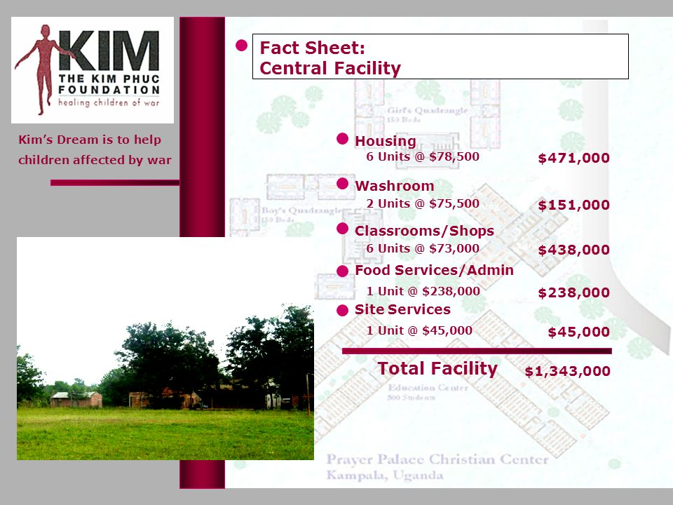 Kims Dream is to help children affected by war Housing Washroom Fact Sheet: Central Facility 6 Units @ $78,500 $471,000 2 Units @ $75,500 $151,000 Cla