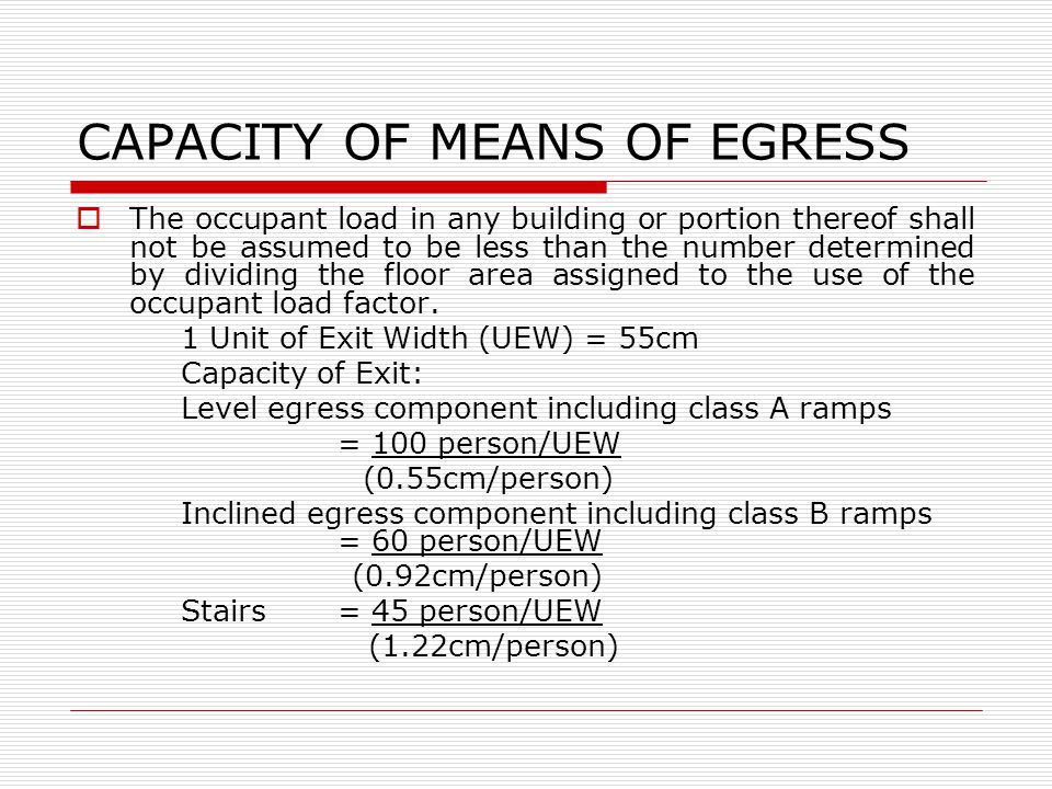 CAPACITY OF MEANS OF EGRESS The occupant load in any building or portion thereof shall not be assumed to be less than the number determined by dividing the floor area assigned to the use of the occupant load factor.