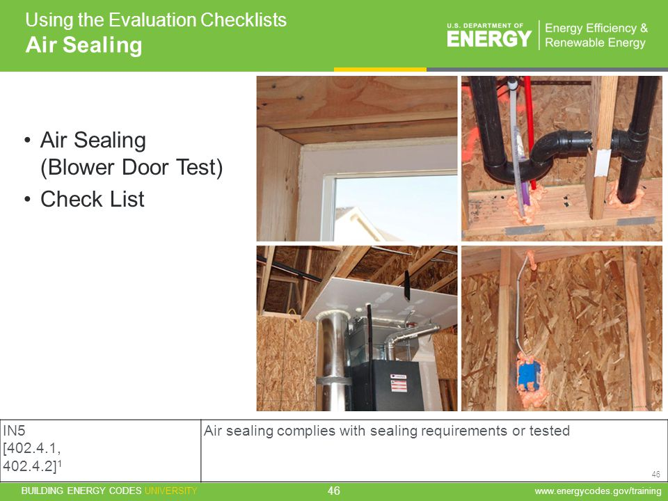 BUILDING ENERGY CODES UNIVERSITYwww.energycodes.gov/training 46 Using the Evaluation Checklists Air Sealing Air Sealing (Blower Door Test) Check List