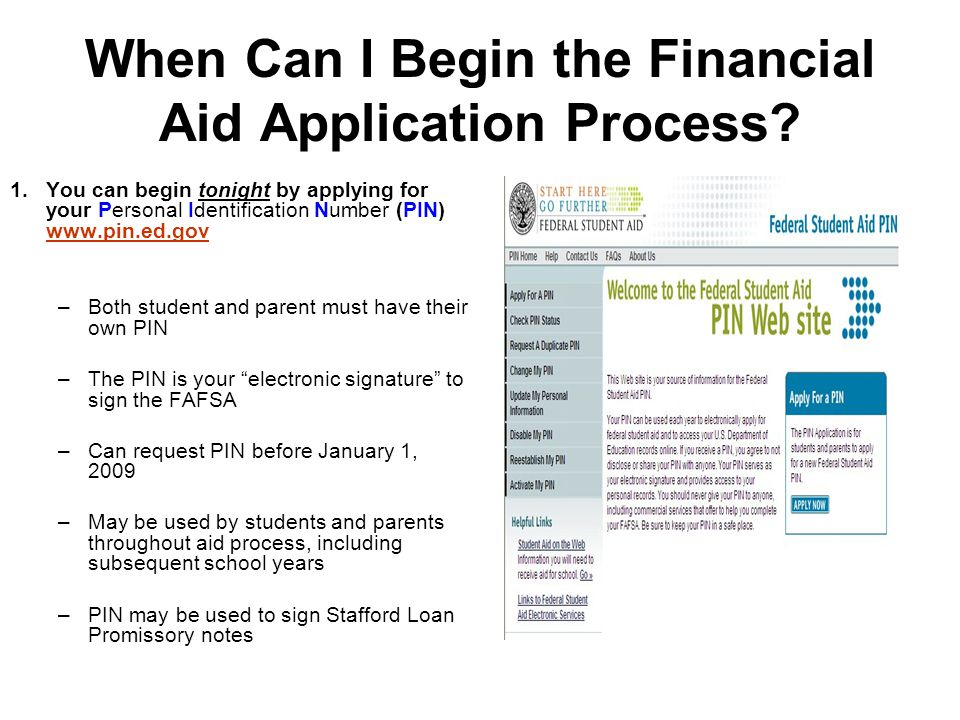 When Can I Begin the Financial Aid Application Process.