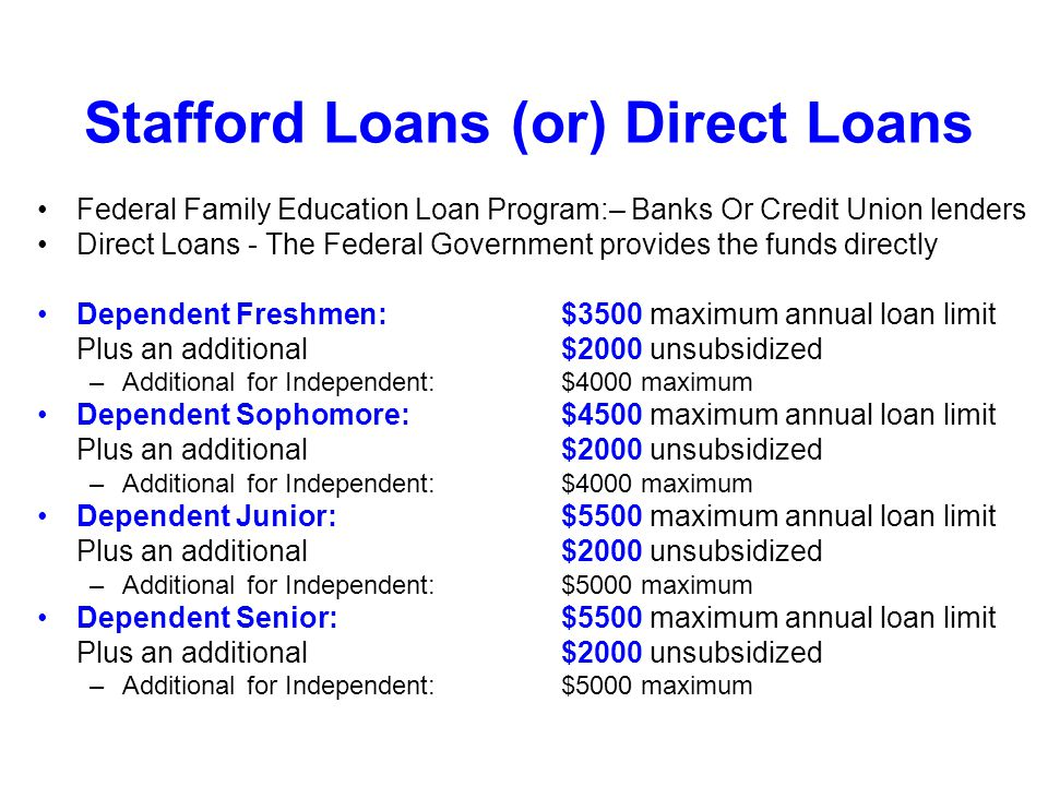 Stafford Loans (or) Direct Loans Federal Family Education Loan Program:– Banks Or Credit Union lenders Direct Loans - The Federal Government provides the funds directly Dependent Freshmen: $3500 maximum annual loan limit Plus an additional$2000 unsubsidized –Additional for Independent:$4000 maximum Dependent Sophomore:$4500 maximum annual loan limit Plus an additional$2000 unsubsidized –Additional for Independent:$4000 maximum Dependent Junior:$5500 maximum annual loan limit Plus an additional$2000 unsubsidized –Additional for Independent:$5000 maximum Dependent Senior:$5500 maximum annual loan limit Plus an additional$2000 unsubsidized –Additional for Independent:$5000 maximum