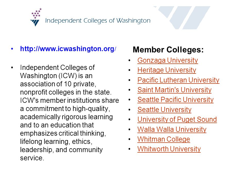 http://www.icwashington.org / Independent Colleges of Washington (ICW) is an association of 10 private, nonprofit colleges in the state. ICW's member