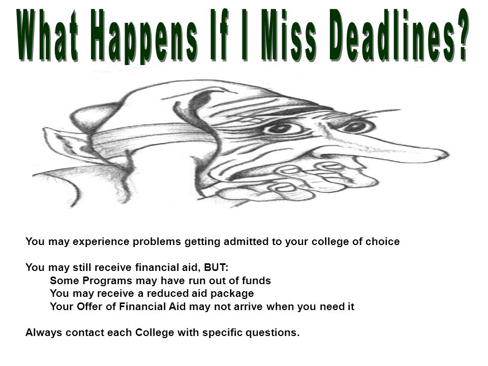 You may experience problems getting admitted to your college of choice You may still receive financial aid, BUT: Some Programs may have run out of fun