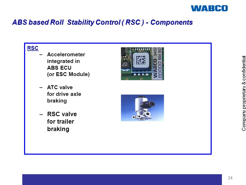 Company proprietary & confidential 24 ABS based Roll Stability Control ( RSC ) - Components RSC –Accelerometer integrated in ABS ECU (or ESC Module) –