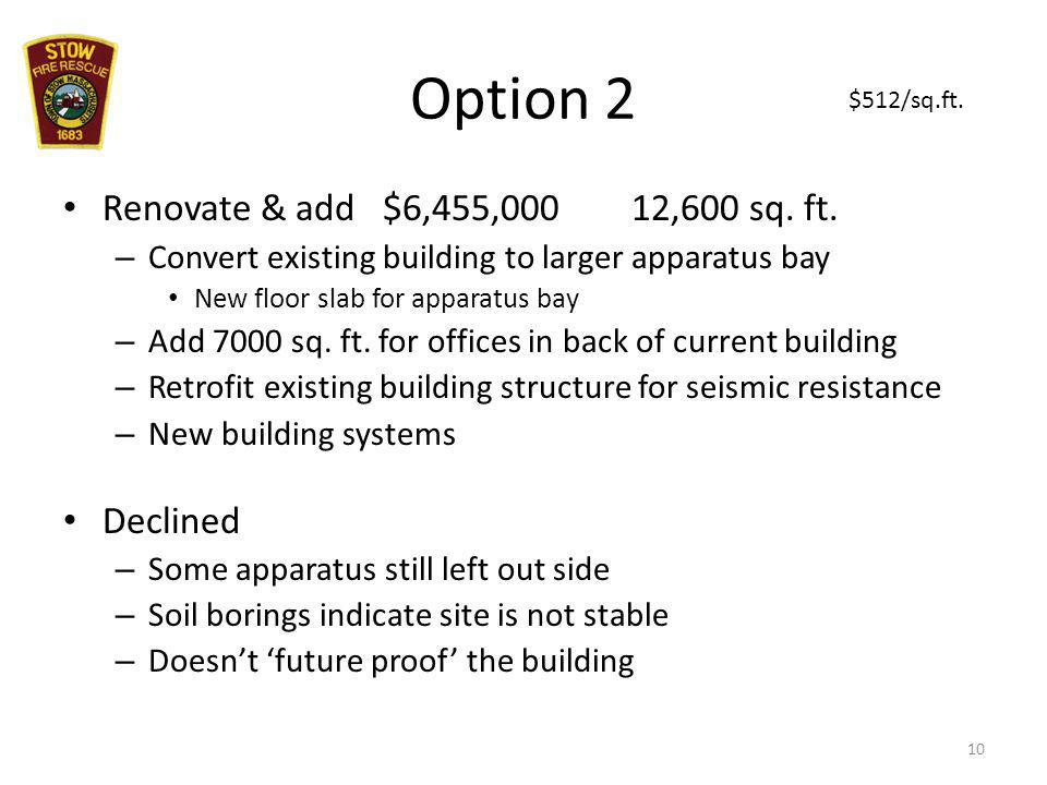 Option 2 Renovate & add $6,455,000 12,600 sq. ft. – Convert existing building to larger apparatus bay New floor slab for apparatus bay – Add 7000 sq.