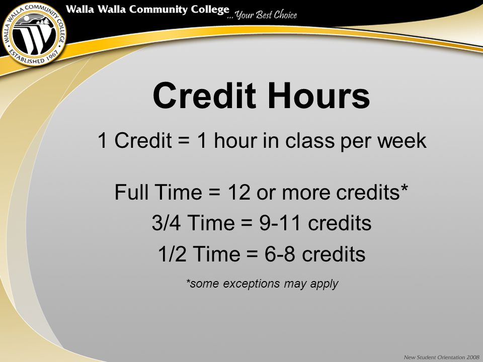 Credit Hours 1 Credit = 1 hour in class per week Full Time = 12 or more credits* 3/4 Time = 9-11 credits 1/2 Time = 6-8 credits *some exceptions may apply
