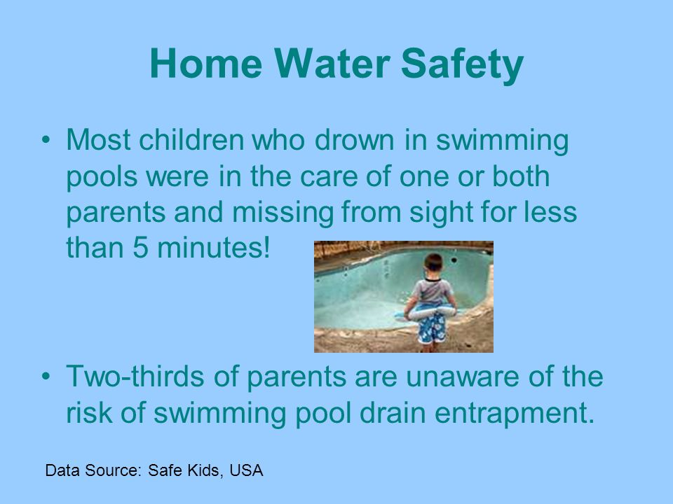 Quick Facts Drowning is the second leading cause of accidental death among children ages 1 to 14. Drowning can occur in as little as 1 inch of water.