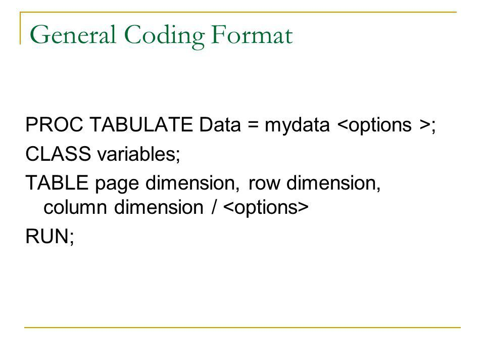 General Coding Format PROC TABULATE Data = mydata ; CLASS variables; TABLE page dimension, row dimension, column dimension / RUN;