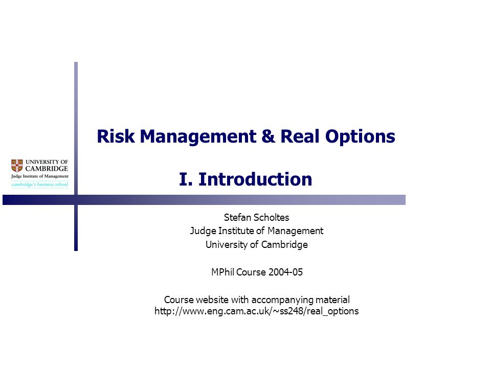 Risk Management & Real Options I.