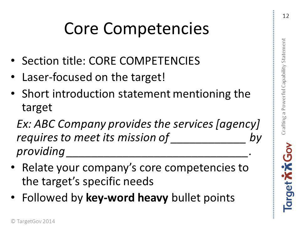 © TargetGov 2014 Core Competencies Section title: CORE COMPETENCIES Laser-focused on the target! Short introduction statement mentioning the target Ex