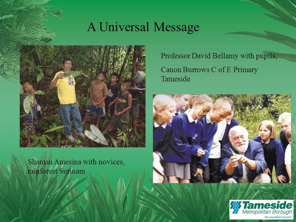 A Universal Message Shaman Amesina with novices, rainforest Surinam Professor David Bellamy with pupils, Canon Burrows C of E Primary Tameside