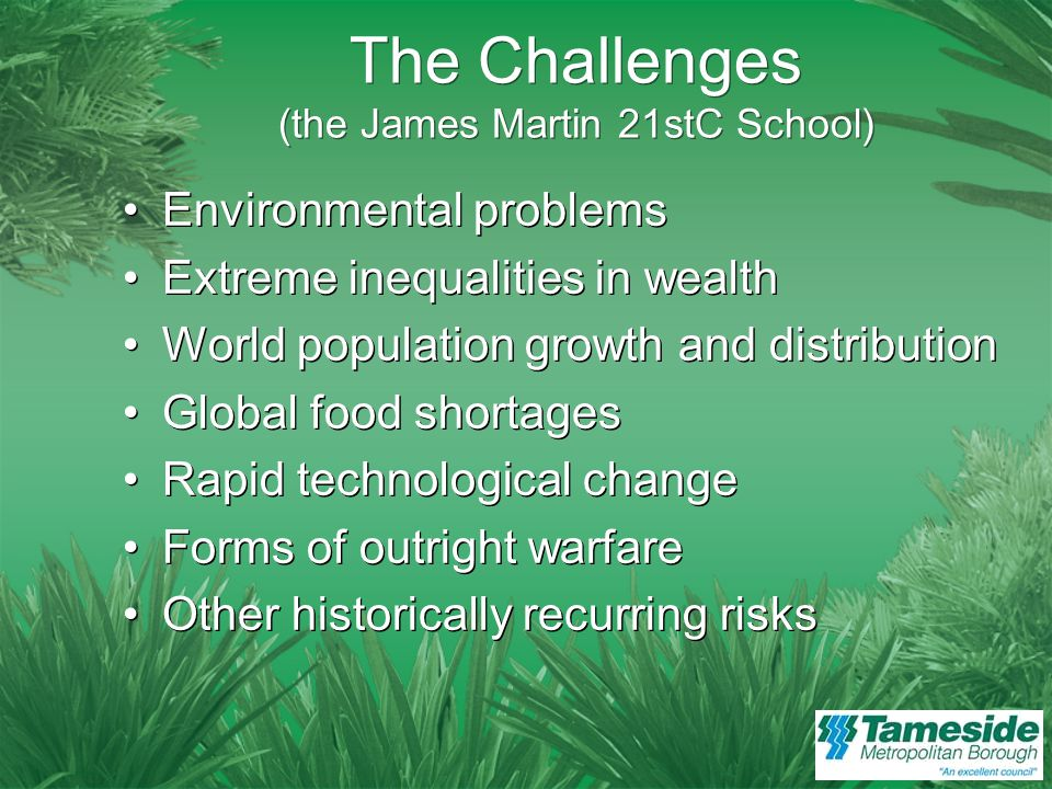A Five Point Framework Possible Impact: Environmental damage Climate change Hostile neighbours Reliance on friendly partners Possible Impact: Environmental damage Climate change Hostile neighbours Reliance on friendly partners Definite Impact: How we respond to these problems Jared Diamond, Collapse: How Societies Choose to Fail or Succeed