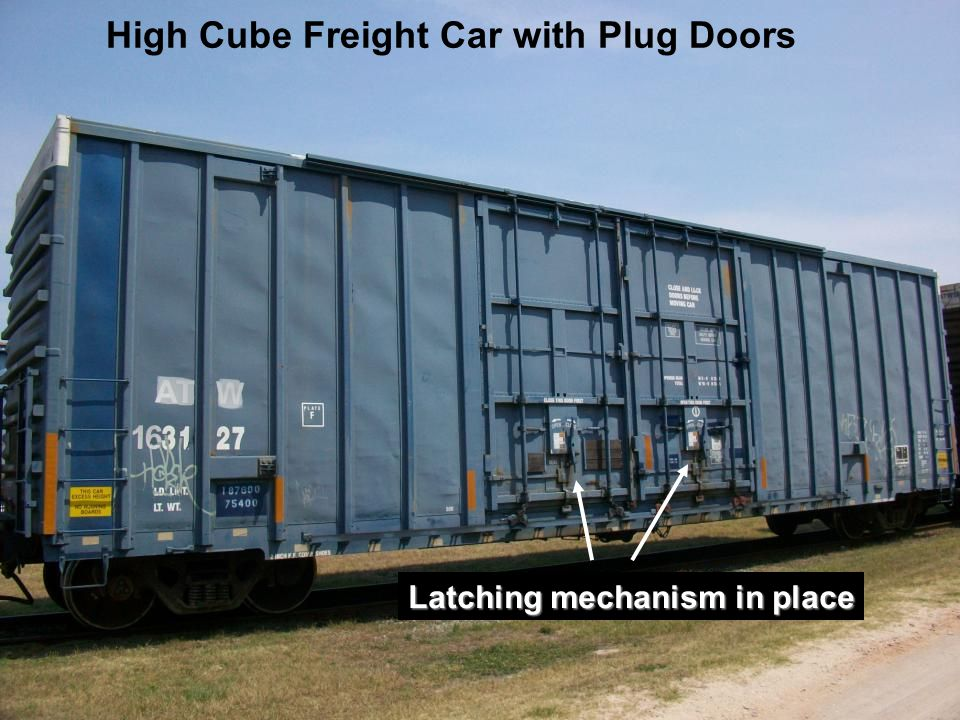 High Cube Freight Car with Plug Doors Latching mechanism in place