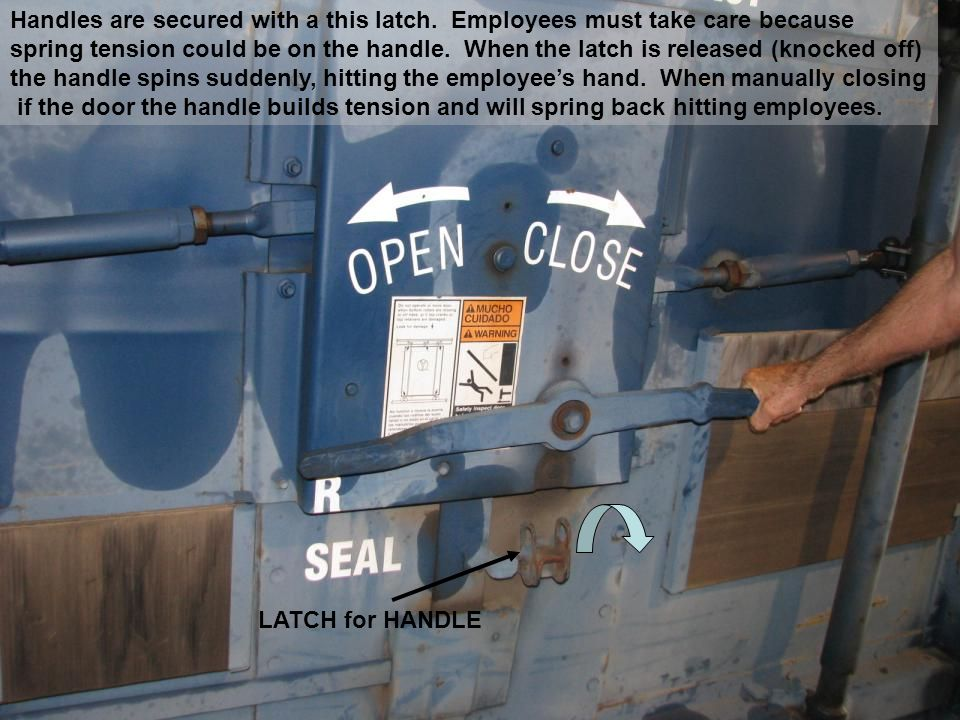 Handles are secured with a this latch.