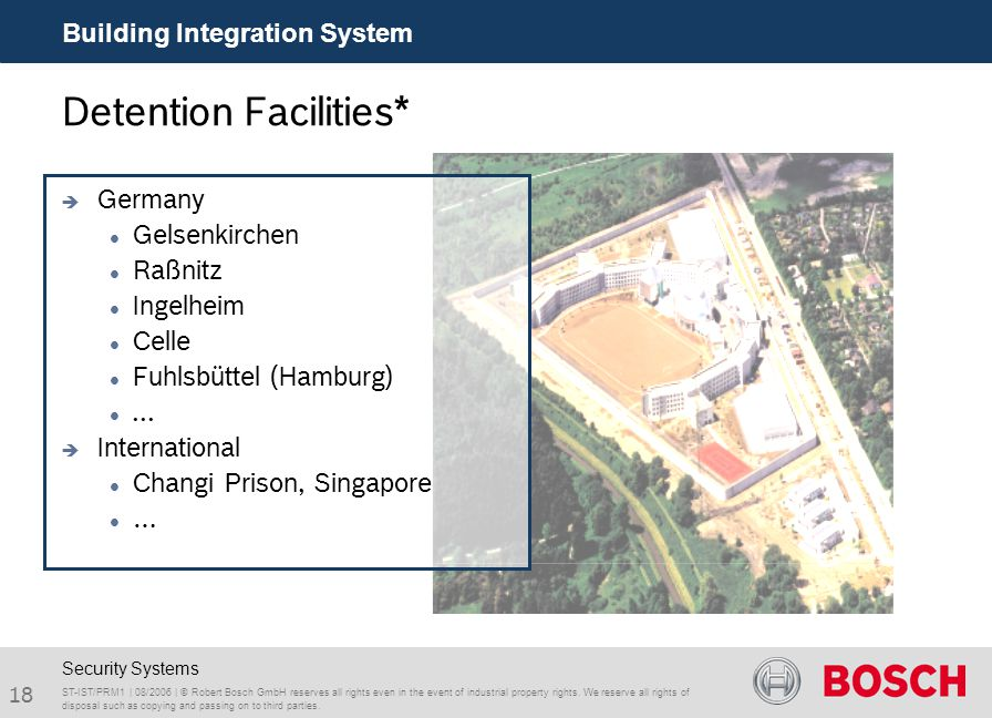 18 Building Integration System ST-IST/PRM1 | 08/2006 | © Robert Bosch GmbH reserves all rights even in the event of industrial property rights. We res