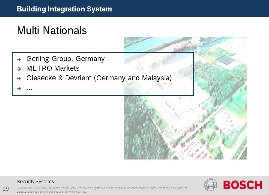 19 Building Integration System ST-IST/PRM1 | 08/2006 | © Robert Bosch GmbH reserves all rights even in the event of industrial property rights. We res