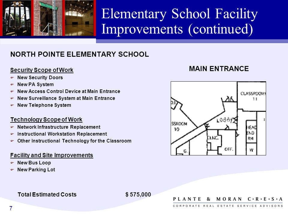 7 Elementary School Facility Improvements (continued) NORTH POINTE ELEMENTARY SCHOOL Security Scope of Work F New Security Doors F New PA System F New Access Control Device at Main Entrance F New Surveillance System at Main Entrance F New Telephone System Technology Scope of Work F Network Infrastructure Replacement F Instructional Workstation Replacement F Other Instructional Technology for the Classroom Facility and Site Improvements F New Bus Loop F New Parking Lot Total Estimated Costs $ 575,000 MAIN ENTRANCE