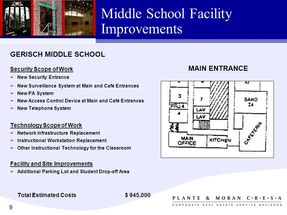 9 Middle School Facility Improvements GERISCH MIDDLE SCHOOL Security Scope of Work F New Security Entrance F New Surveillance System at Main and Café Entrances F New PA System F New Access Control Device at Main and Café Entrances F New Telephone System Technology Scope of Work F Network Infrastructure Replacement F Instructional Workstation Replacement F Other Instructional Technology for the Classroom Facility and Site Improvements F Additional Parking Lot and Student Drop-off Area Total Estimated Costs $ 945,000 MAIN ENTRANCE