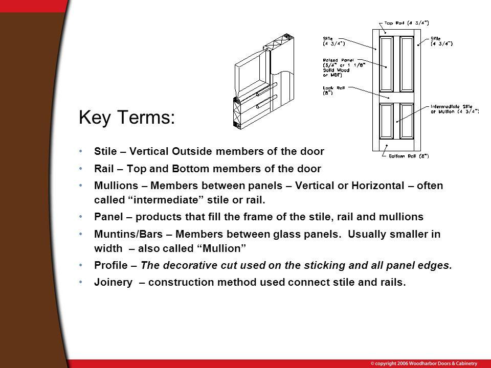 Key Terms: Stile – Vertical Outside members of the door Rail – Top and Bottom members of the door Mullions – Members between panels – Vertical or Hori