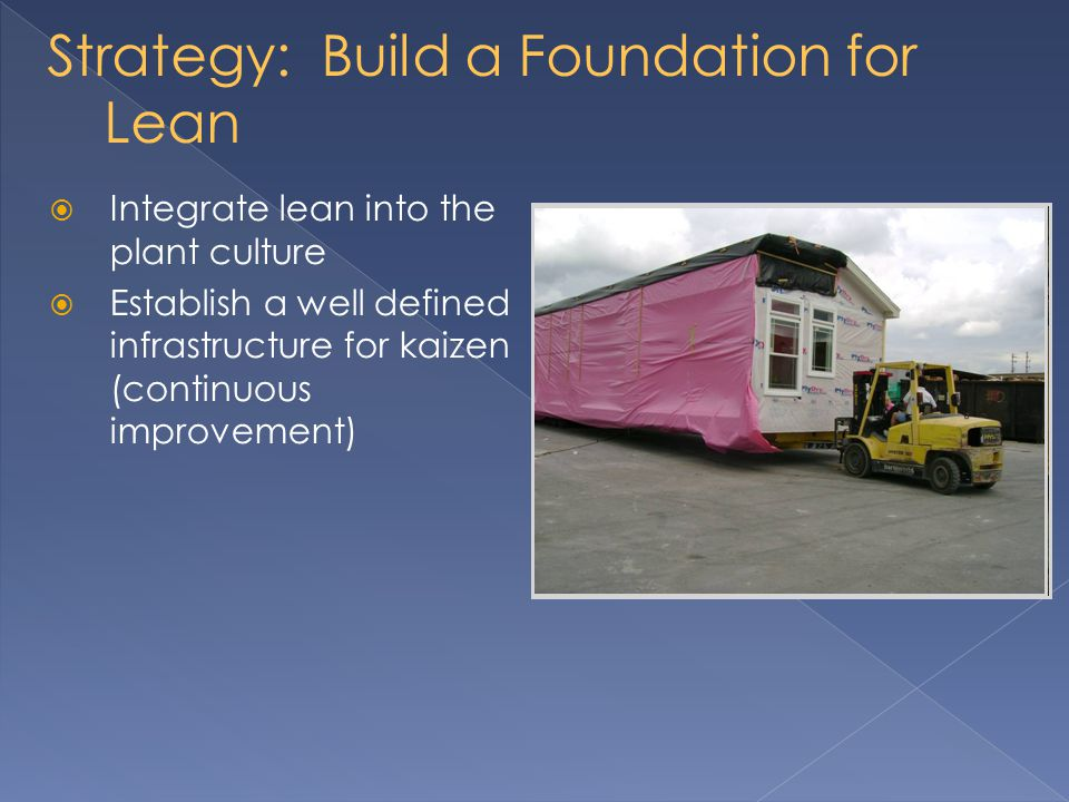 Strategy: Build a Foundation for Lean Integrate lean into the plant culture Establish a well defined infrastructure for kaizen (continuous improvement