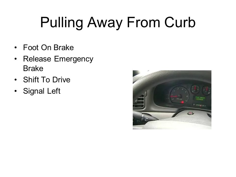 Pulling Away From Curb Foot On Brake Release Emergency Brake Shift To Drive Signal Left