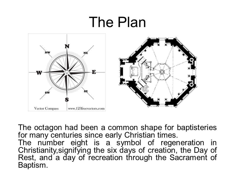 The Plan The octagon had been a common shape for baptisteries for many centuries since early Christian times.