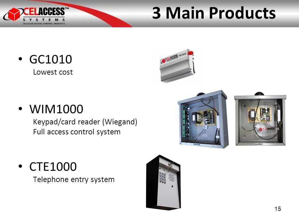 3 Main Products GC1010 Lowest cost WIM1000 Keypad/card reader (Wiegand) Full access control system CTE1000 Telephone entry system 15