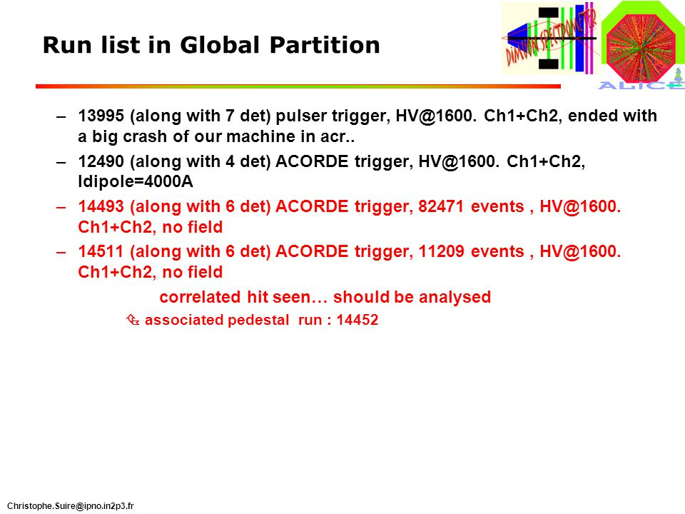 Christophe.Suire@ipno.in2p3.fr Run list in Global Partition –13995 (along with 7 det) pulser trigger, HV@1600.