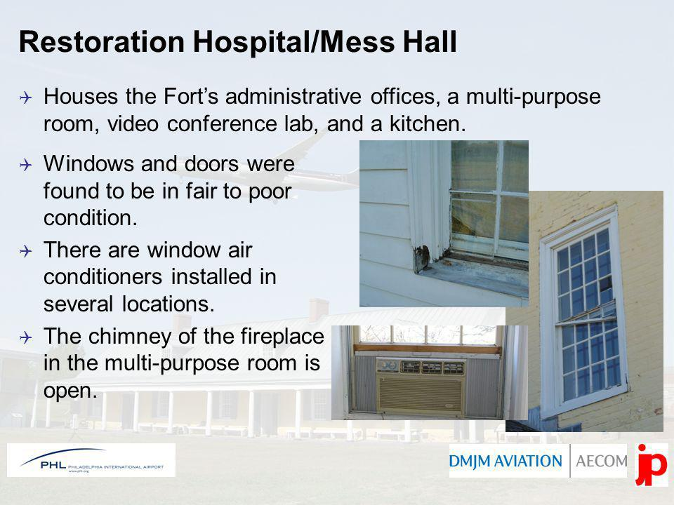 Restoration Hospital/Mess Hall Houses the Forts administrative offices, a multi-purpose room, video conference lab, and a kitchen.