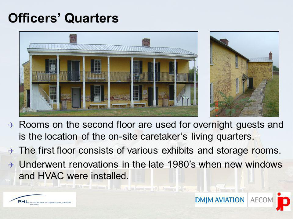 Officers Quarters Rooms on the second floor are used for overnight guests and is the location of the on-site caretakers living quarters.