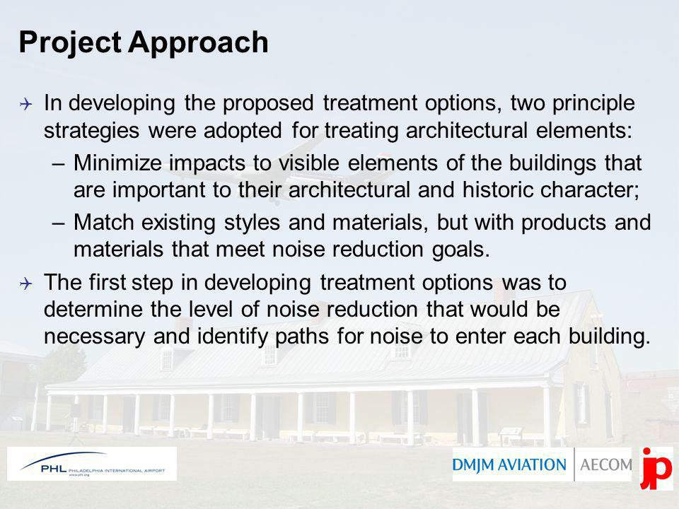 Each building underwent acoustical testing to measure exterior and interior noise levels to determine the Noise Level Reduction (NLR) needed.