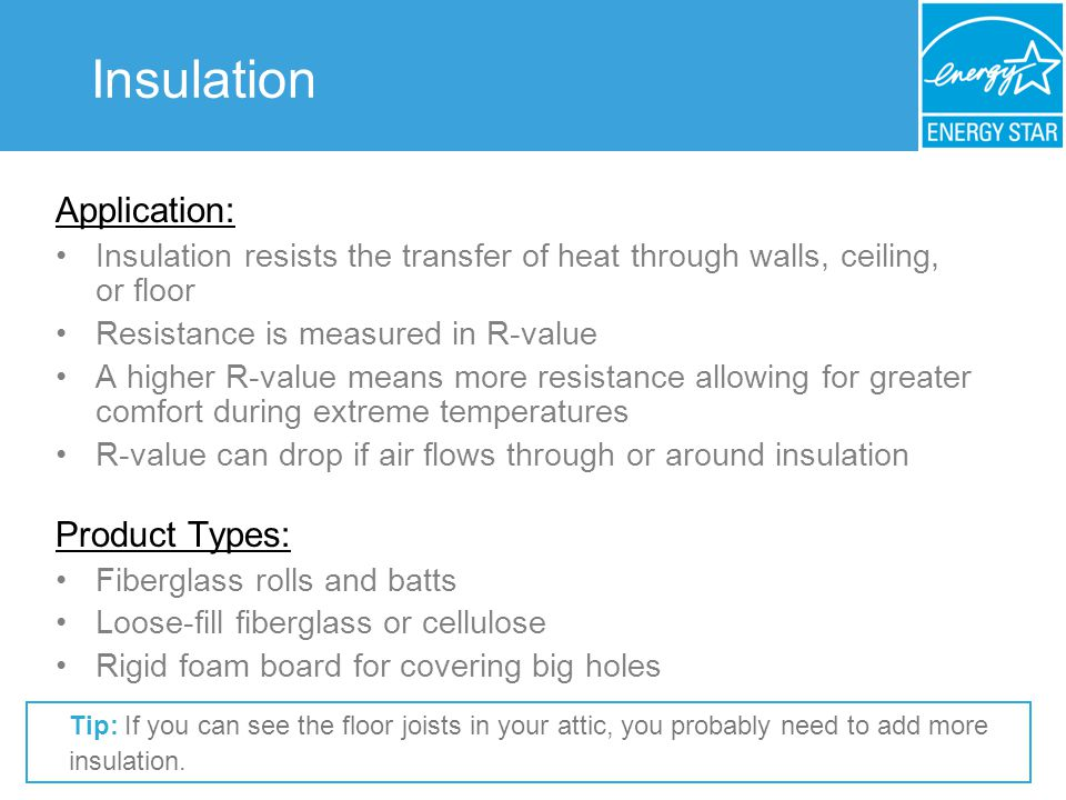 Insulation Application: Insulation resists the transfer of heat through walls, ceiling, or floor Resistance is measured in R-value A higher R-value me