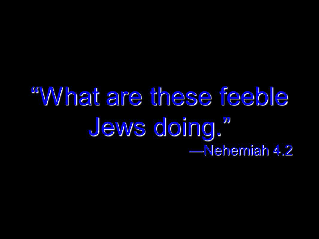 What are these feeble Jews doing. Nehemiah 4.2