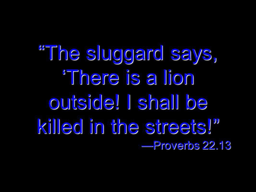 The sluggard says, There is a lion outside! I shall be killed in the streets! Proverbs 22.13