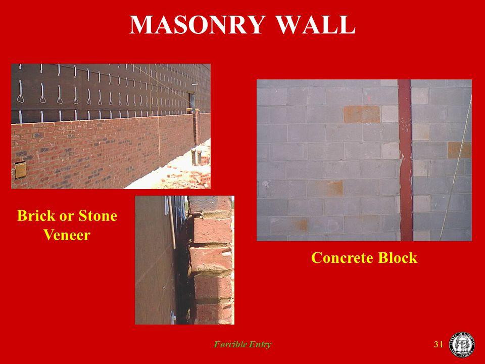 Forcible Entry31 MASONRY WALL Brick or Stone Veneer Concrete Block