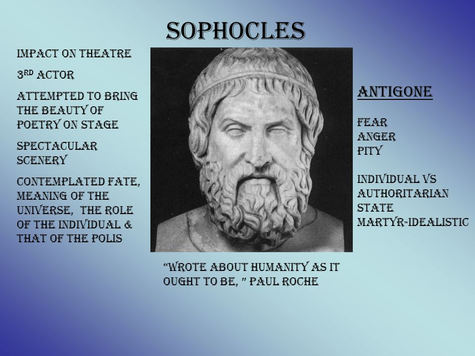 Wrote about humanity as it ought to be, Paul Roche Antigone Fear anger Pity Individual vs authoritarian state Martyr-idealistic Sophocles Impact on Th